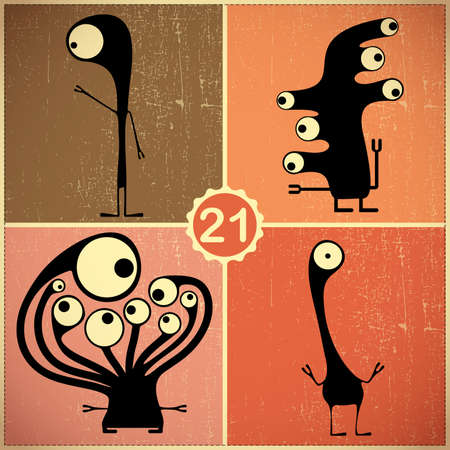 Set of four monsters at retro grunge background Stock Vector - 22653587