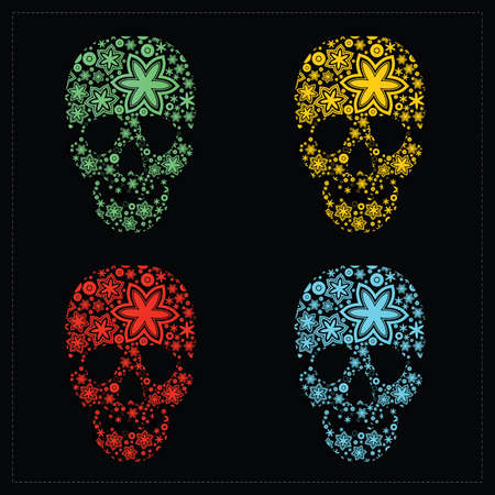mort: Set of four skulls with flowers  vector