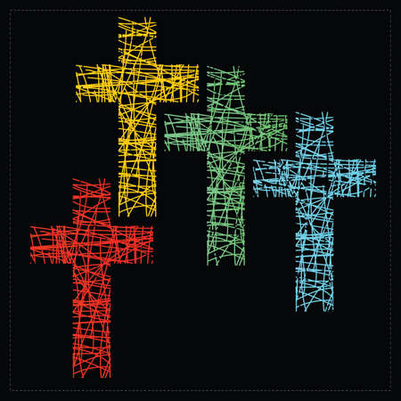 christian symbol: Set of four crosses  vector