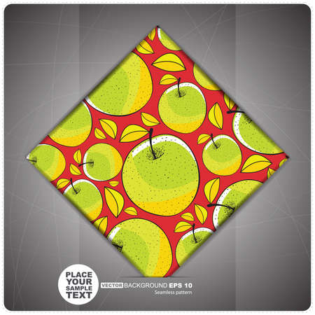 ascorbic: Decorative tile with apples  vector illustration