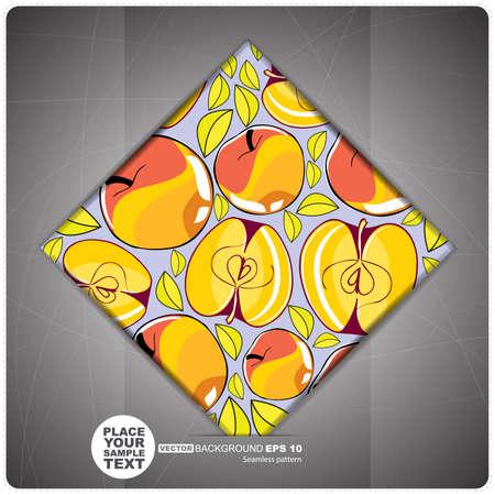 ascorbic: Azulejo decorativo con manzanas ilustraci�n vectorial