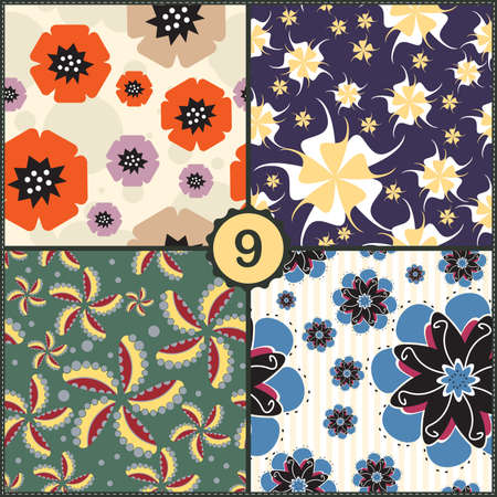 Vector set of four seamless pattern with flowers Vector
