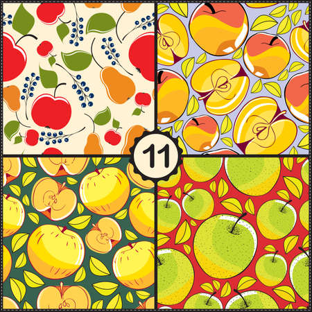 ascorbic: Vector set of four seamless pattern with apples and fruits Illustration