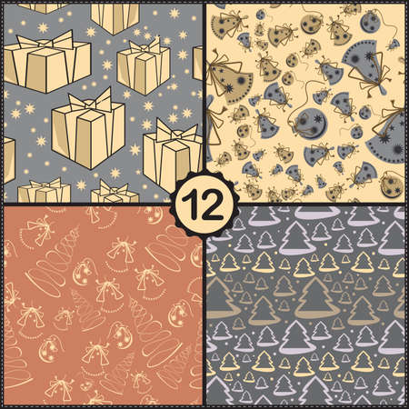 Vector set of four seamless pattern with New Year elements Vector