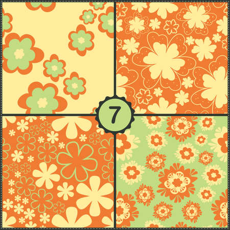 Vector set of four seamless pattern with flowers and leaves Vector