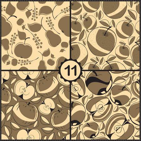 ascorbic: Vector conjunto de cuatro patrones sin fisuras con las manzanas y las frutas