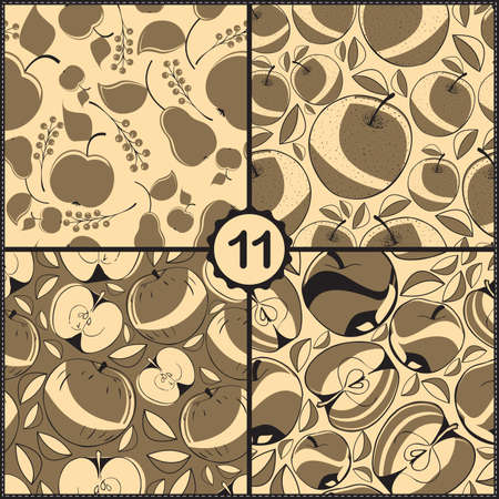 Vector set of four seamless pattern with apples and fruits Vector
