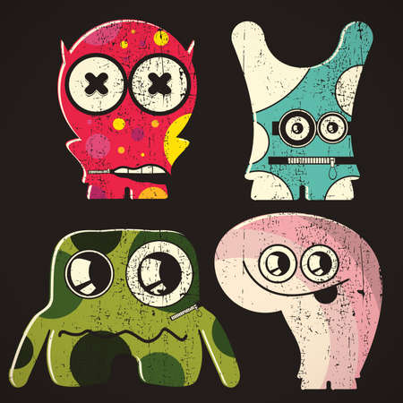 Set of four monsters on retro grunge background Stock Vector - 23062724