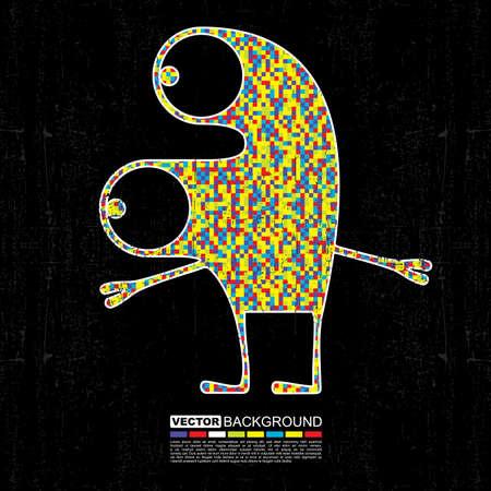 black grunge background: Colorful monster on black grunge background