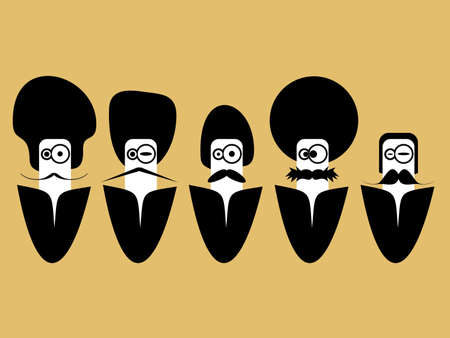 Five men with hair style and mustache