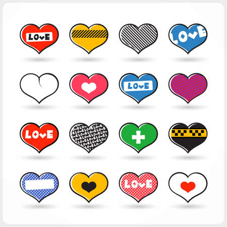 Set of different Valentine s Day hearts   Vector