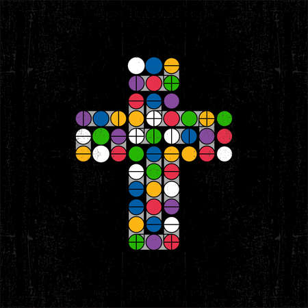 Color cross on grunge background  Vector illustration Vector
