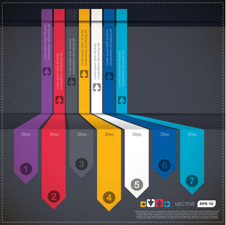 Colorful infographics tracks in perspective with numbers and arrows  Vector