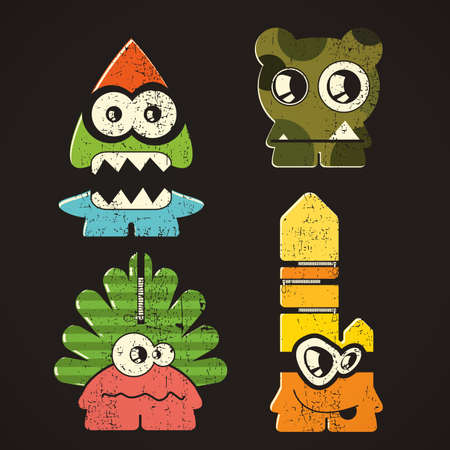 Set of four monsters on retro grunge background Vector