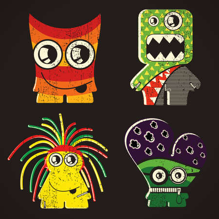4 of a kind: Set of four monsters on retro grunge background Illustration