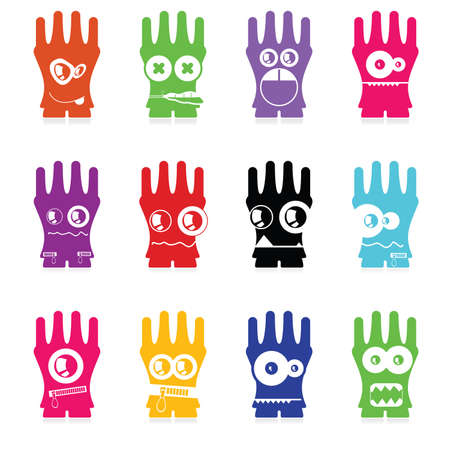 Set of twelve color monsters isolated on white  vector Vector