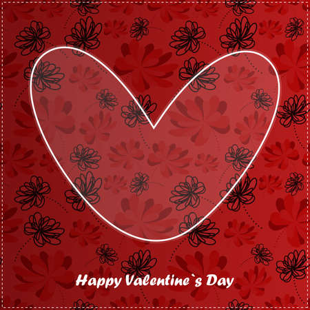 Valentine day card with floral background Vector