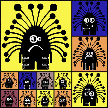 Set of cute monsters  vector Vector
