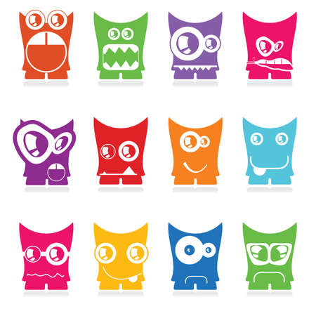 twelve: Set of twelve color monsters isolated on white  vector Illustration