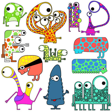 Set of twelve cute monsters isolated on white Vector