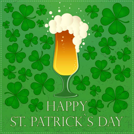 Happy St Patricks Day illustration with beer and clover leaves Vector