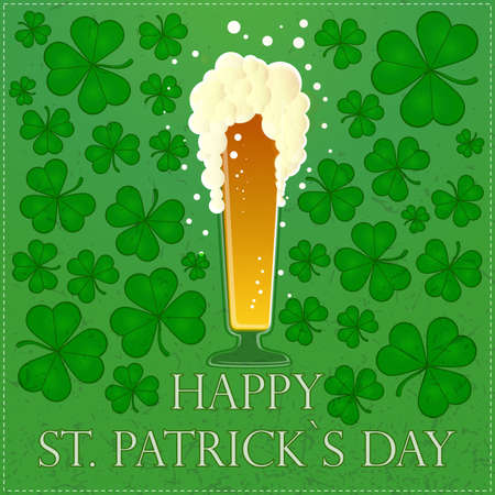 st patricks party: Happy St Patricks Day illustration with beer and clover leaves Illustration