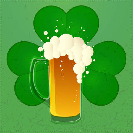Happy St Patricks Day illustration with beer and cloverleaf Vector