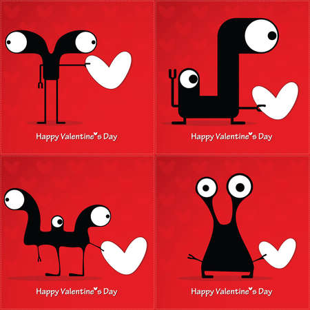 Valentines day card with monsters and hearts Vector