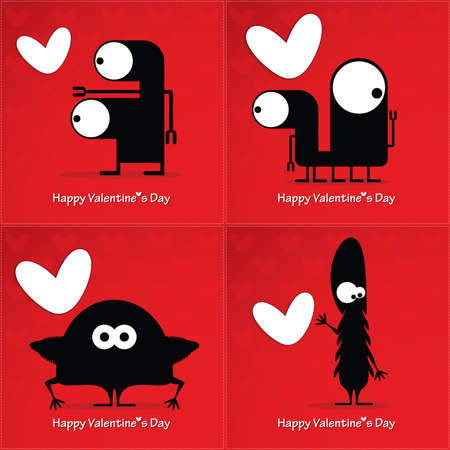 Valentine's day card with monsters and hearts Stock Vector - 25077841