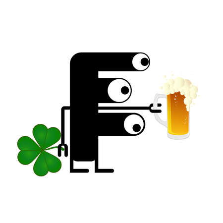 Happy St Patricks Day with Cute monster with cloverleaf and beer Vector