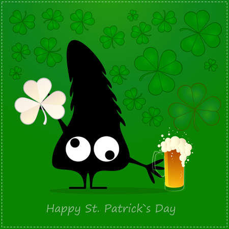 Happy St Patrick's Day with Cute monster with cloverleaf and beer Vector