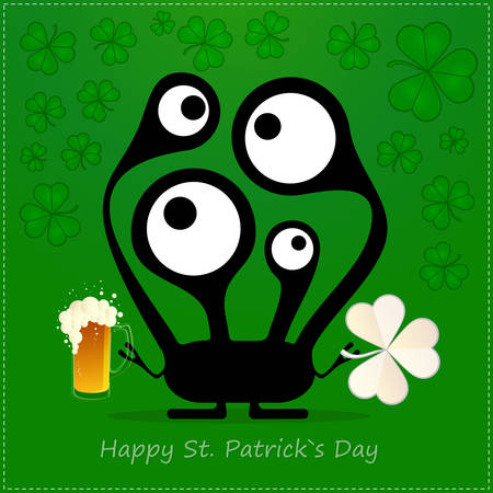 Happy St Patrick's Day with Cute monster with cloverleaf and beer Stock Vector - 25077806