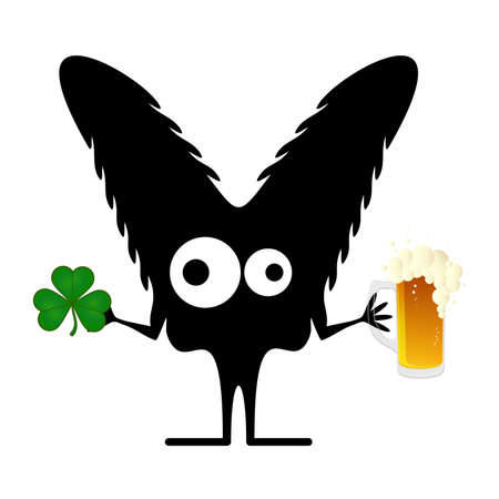 Happy St Patrick's Day with Cute monster with cloverleaf and beer Stock Vector - 25077559
