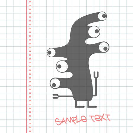 Monster on white paper Stock Vector - 25085231