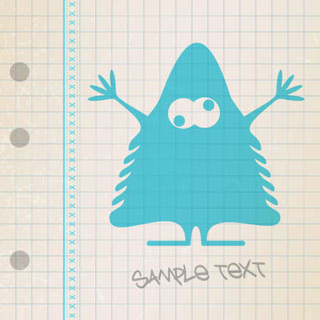 Monster on old paper Stock Vector - 25085258