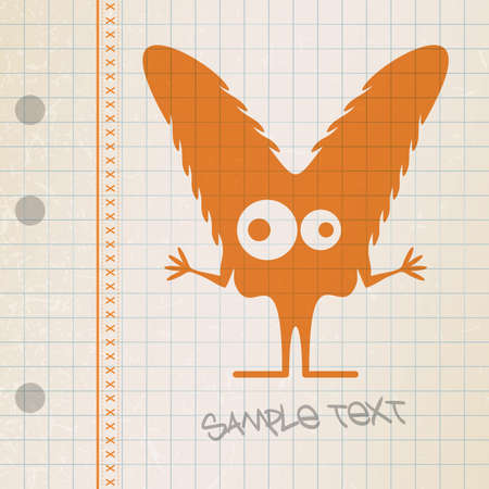 Monster on old paper Stock Vector - 25085270