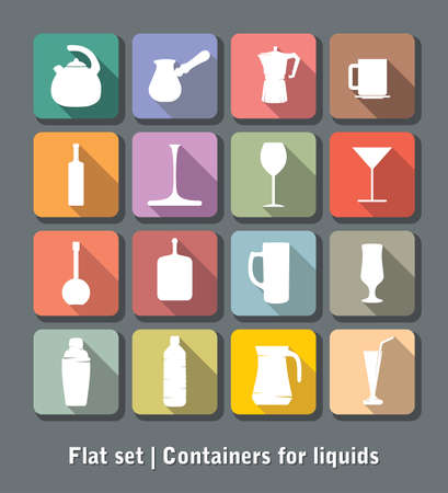 Set of flat containers for liquids Vector