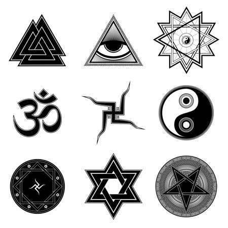 simple life: Nine different religion symbols