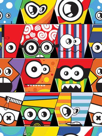 cartoon face: Monsters - seamless pattern