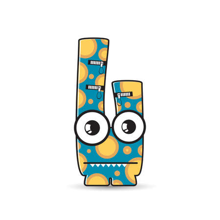 foots: Colorful monster on white background