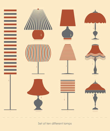Set of ten different lamps Vector