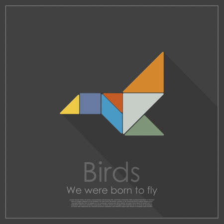 Tangram bird Vector