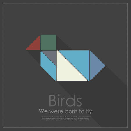 color tangram: Tangram bird Illustration