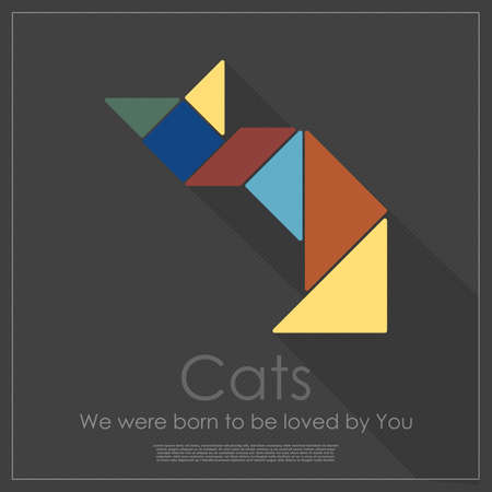 Tangram cat Vector