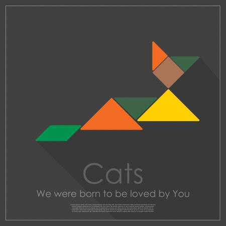color tangram: Tangram cat Illustration
