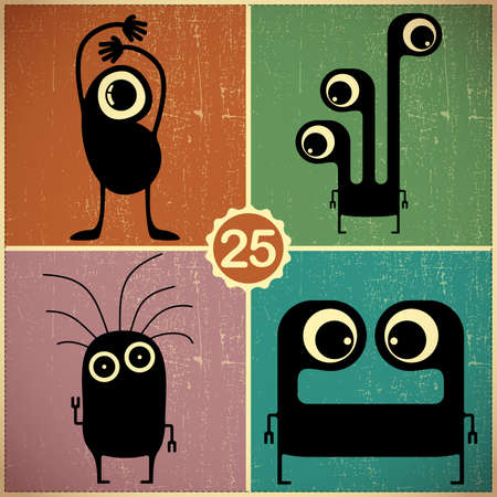 Set of four monsters at retro grunge background Vector
