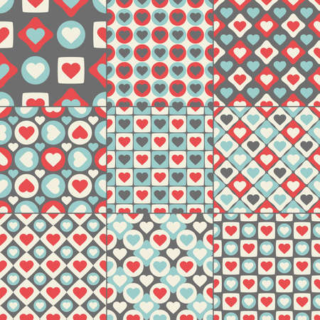 set of nine valentine s day seamless pattern Vector