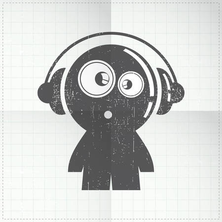 gender identity: funny boy with headphones on folded paper