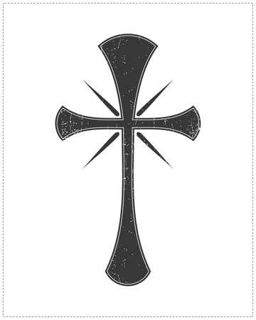 白で隔離される黒の十字架  イラスト・ベクター素材
