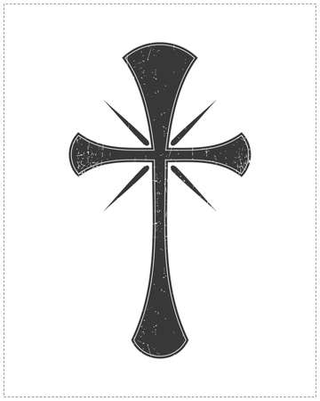 Black cross isolated on white Ilustração